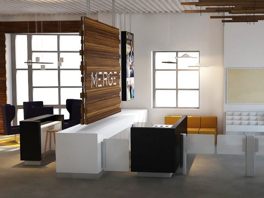 A rendering of the MERGE reception area. The space will undergo renovations beginning in September and is expected to reopen in January.