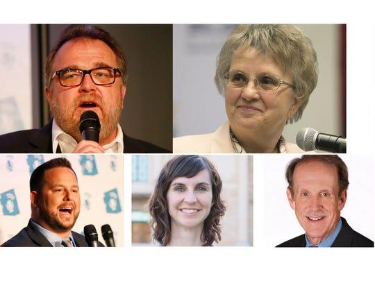 Arizona education superintendent candidates (clockwise from top left) Bob Branch, Diane Douglas, Jonathan Gelbart, Tracy Livingston, Frank Riggs, Kathy Hoffman and David Schapira.