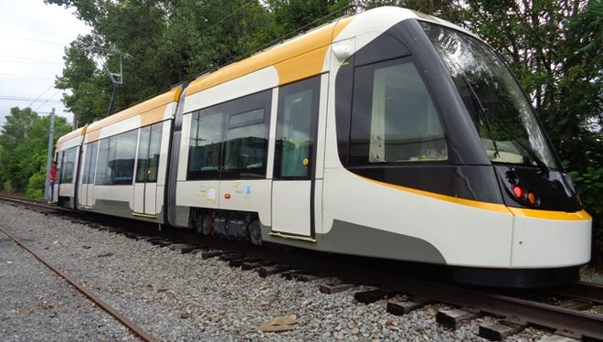 A look at the streetcar vehicle expected to arrive in Cincinnati on Friday afternoon.