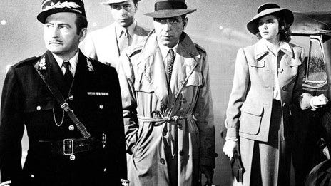 "From left, Claude Rains, Paul Henreid, Humphrey Bogart and Ingrid Bergman in the climactic moments of ""Casablanca"" (1942), which is celebrating its 75th anniversary."