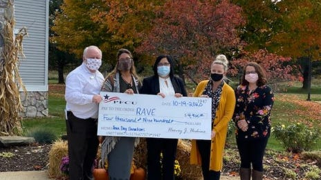PFCU donated $4,900 to Relief After Violent Encounter -- Ionia/Montcalm, Inc. (RAVE). PFCU provided the donation as October is National Domestic Violence Awareness month, according to a news release from PFCU.
