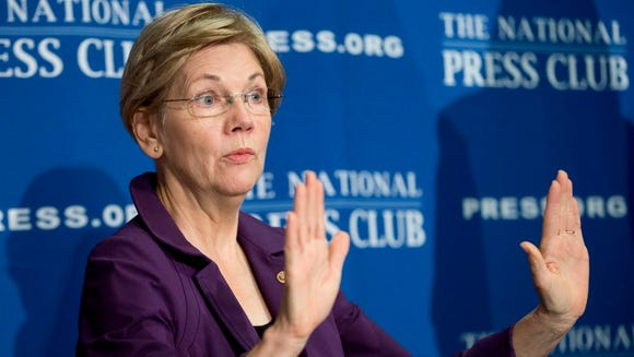 In this Nov. 18, 2015, file photo, Sen. Elizabeth Warren,