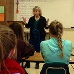 Montana Secretary of State Linda McCulloch speaks with students in Brian Halverson's AP U.S. government class on Wednesday at C.M. Russell High School about the importance of voting.