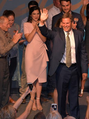 Republican Tennessee Governor candidate Bill Lee waves to supporters at his primary election night party at the Factory in Franklin, Tenn. on August 2, 2018.