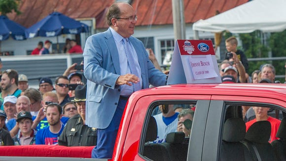 Hall of Famer Johnny Bench arrives at National Baseball Hall of Fame in Cooperstown in July of 2015.