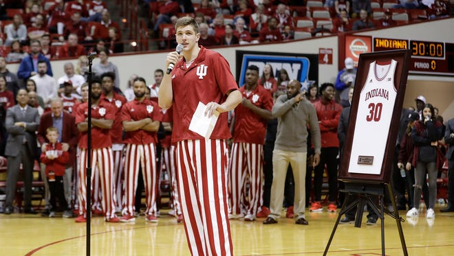 Indiana's Collin Hartman talks to fans following the team's game against Northwestern, Saturday.