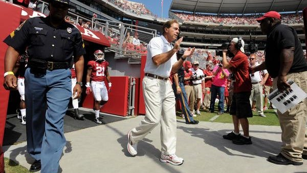 Nick Saban and the Alabama Crimson Tide are up 21-14 at the half on Florida