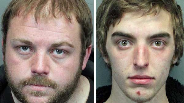 Scott Thomas Jones, 27, of Reno, left, and Austin Michael Hagander, 20, right, were arrested on suspicion of stealing brass fittings from more than 20 homes in the Cold Springs area in January and February.