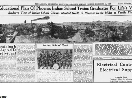 A copy of Dec. 30, 1923, edition of The Arizona Republic, which featured articles about the Phoenix Indian School.
