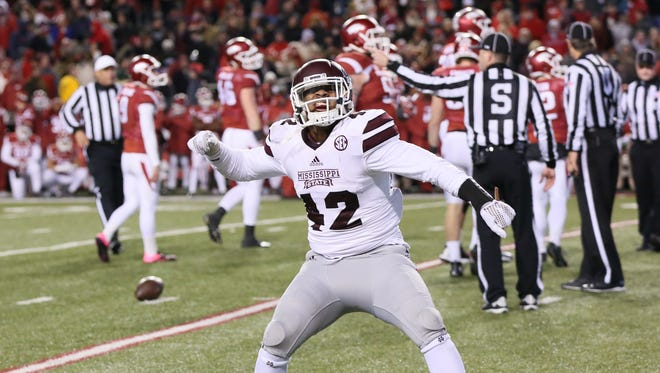 Former Mississippi State linebacker Beniquez Brown blocked a field goal last year to secure a win against Arkansas.