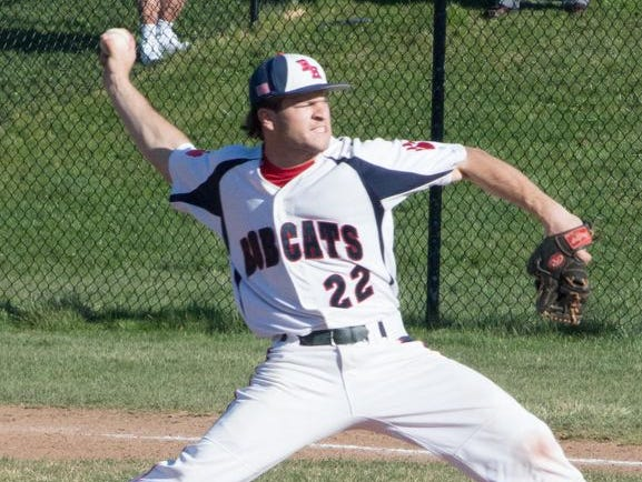 Byram Hills pitcher Frankie Vesuvio delivers in the first inning of a home game against Harrison on April 14, 2016.