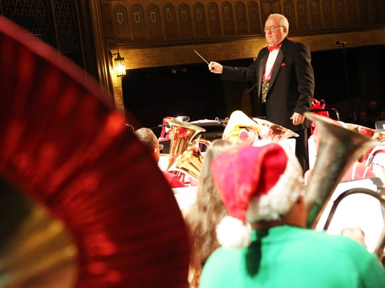 John Skleton conducts the annual Salem Tuba Holiday performance at the Historic Elsinore Theatre.