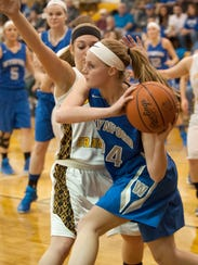 Wynford's Sarah Ogden looks for an open teammate against