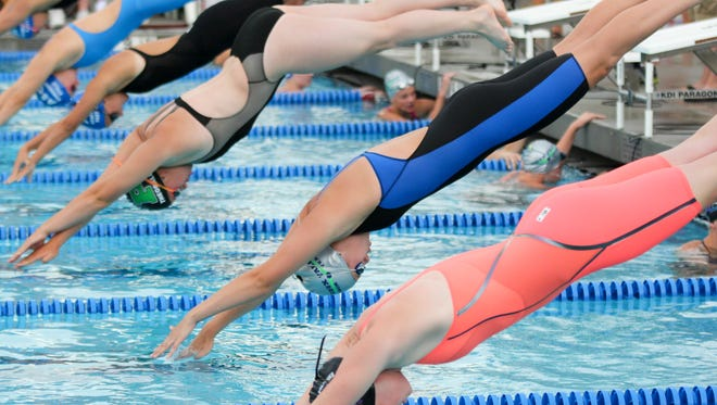 Swimmers compete at the South Dakota State Long Course Championship swim meet at Roosevelt Swim Center in Rapid City.