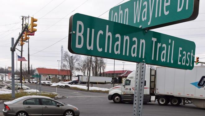A truck pulls onto Buchanan Trail East from John Wayne Drive in Greencastle on Wednesday, Feb. 17, 2016.