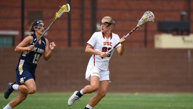 Poudre graduate Maggie Mawhinney, right, has help the USC women's lacrosse team to a 19-0 record and No. 4 national ranking.