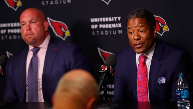 Cardinals GM Steve Keim and head coach Steve Wilks speak to the press at the Cardinals Training Facility in Tempe, Ariz. on April 26, 2018.