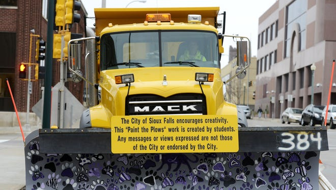 "The city of Sioux Falls will be now be posting a disclaimer on all plows involved with ""Paint The Plows"" that they do not endorse the student artwork on the plow, Oct 30, 2014."
