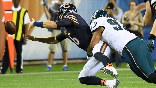 Philadelphia Eagles defensive tackle Destiny Vaeao sacks and makes Chicago Bears quarterback Jay Cutler fumble the ball during the second half Monday at Soldier Field. The Eagles won 29-14.