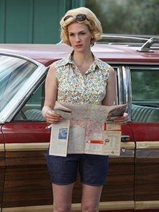 Betty Draper with station wagon, close up