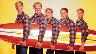 """An early incarnation of the Beach Boys, whose song """"Good Vibrations"""" was a pop hit in the mid-1960s. Left to right: Brian Wilson, Mike Love, Dennis Wilson, Carl Wilson and David Lee Marks (original member later replaced by Al Jardine)."""