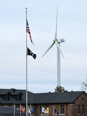 A wind turbine erected on the St. Cloud VA campus in