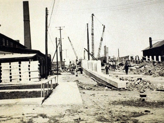 Construction on the lift bridge began in 1932, and