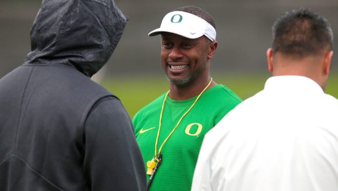 Apr 21, 2017; Eugene, OR, USA; Oregon Ducks head coach Willie Taggart talks with fans during spring practice at the Oregon Ducks outdoor practice facility . Mandatory Credit: Scott Olmos-USA TODAY Sports