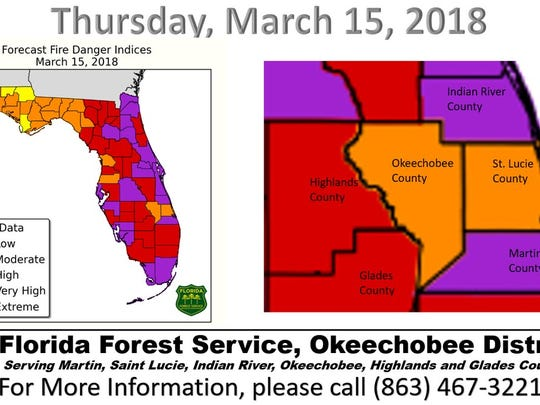 Fire danger index for March 15, 2018.