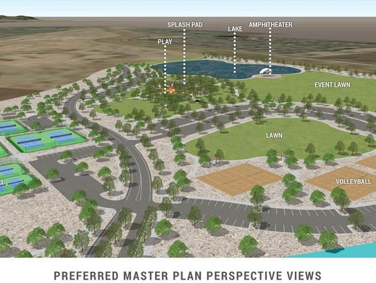 A mock-up of the planned 272-acre Gilbert Regional