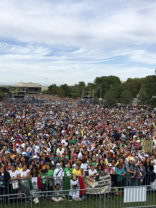 Crowds gather in Philadelphia for the papal address. Katie Lawhon, an employee of Gettysburg National Military Park, was in Philadelphia as part of the National Park Service's incident management team for the event.