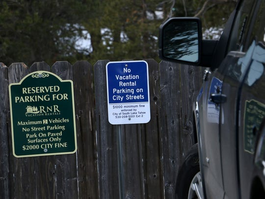 Parking restriction signs are seen at one of RnR Vacation