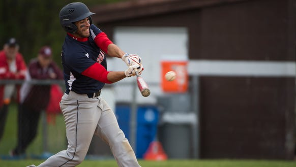 Lebanon's Daniel Caricabeur connects for a hit as Lebanon