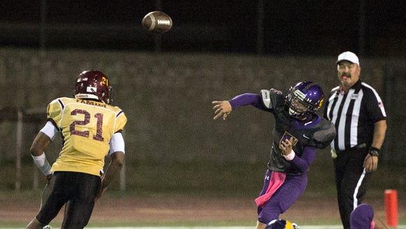 Burges quarterback Matteo Serrano fires to a teammate
