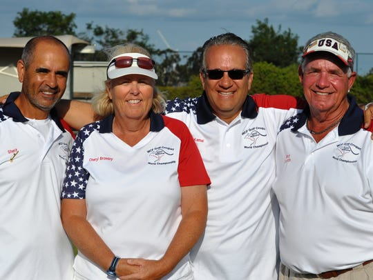 USA croquet players, from left, Sherif Abdelwahab of