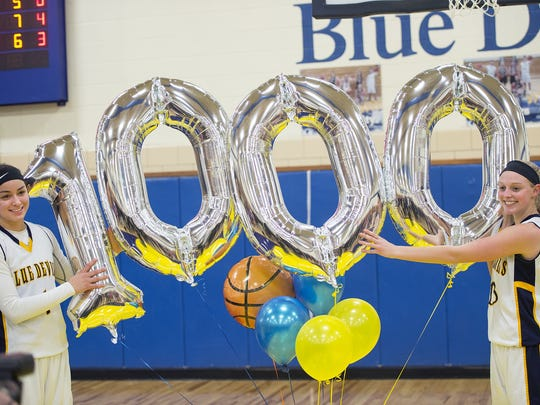 Jenay Faulkner, left, and Hannah Crist stand together holding balloons symbolizing 1,000 points. Both Greencastle girls hit the career milestone during the 2015-16 season.