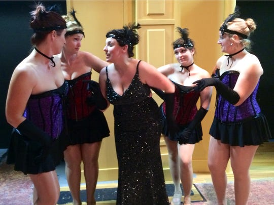 """Leigh Ann Barcellona, Jennifer Pusateri (as Fanny Brice), Jennifer Poliskie, Haley White and Aria Bailey in Shelby County Community Theatre's production of """"Funny Girl."""""""