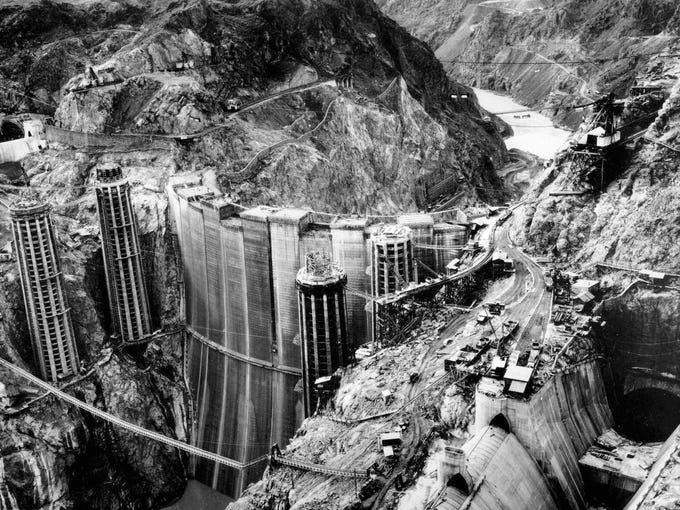 Hoover Dam: The concrete arch-gravity dam in the Black
