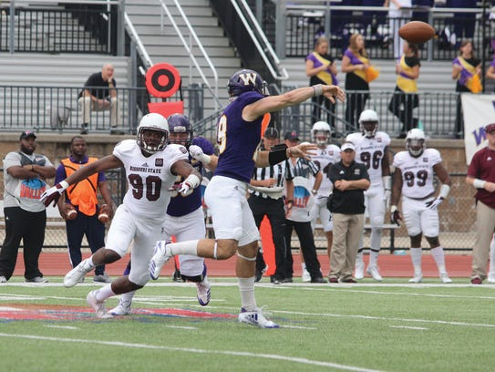 Missouri State's Colby Isbell pressures Western Illinois