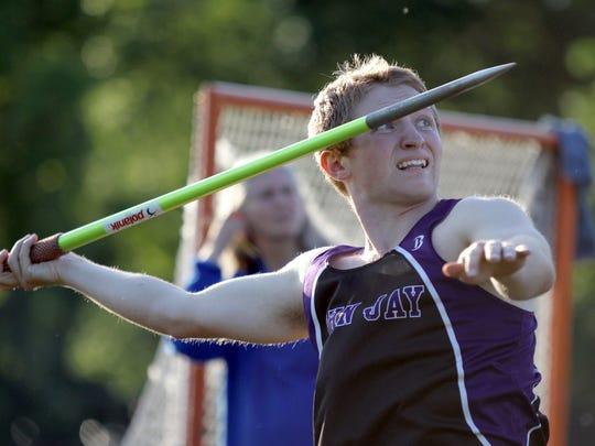 John Jay-Cross River's Paul Monteleone throws the javelin