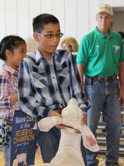 Noah Cook steadies his reserve champion market goat during the Marion County Fair Sale of Champions on Saturday. His animal sold for a record $2,100. Cook's sister, Hannah, holds his reserve champion banner in the background.