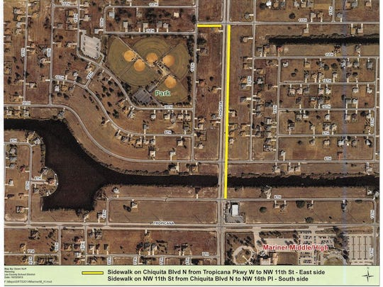 A map from a city memo showing where FDOT will construct