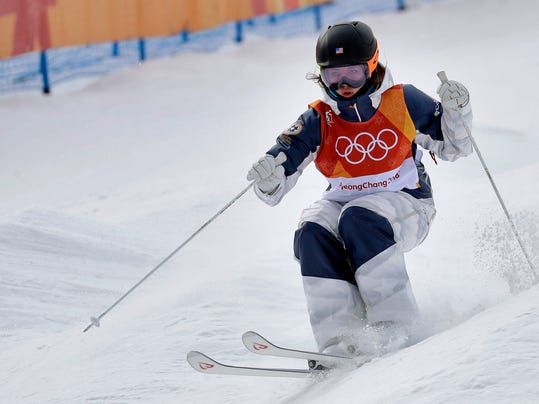Jaelin Kauf, of the United States, runs the course during the women's moguls qualifying at the 2018 Winter Olympics in Pyeongchang, South Korea, Friday, Feb. 9, 2018. (AP Photo/Kin Cheung)