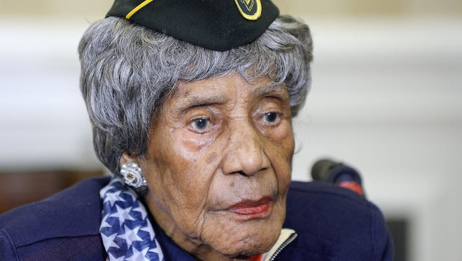 The oldest living woman veteran, 110-year-old Emma Didlake sits in the Oval Office of the White House during a meeting with President Obama on July 17, 2015 in Washington, D.C.