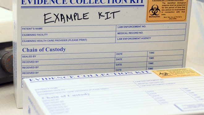 An example rape kit at the Michigan State Police Forensic Science Lab in Lansing.