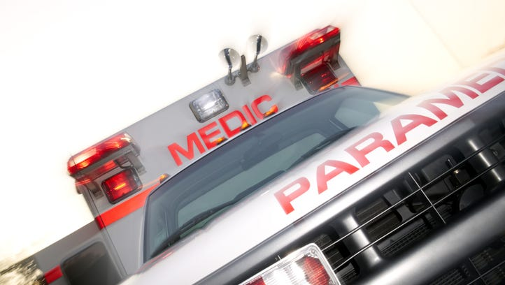 Close-up dutch angle of the front of an ambulance