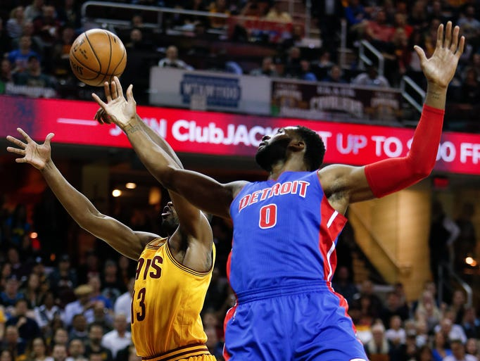 Detroit Pistons' Andre Drummond (0) and Cleveland Cavaliers'