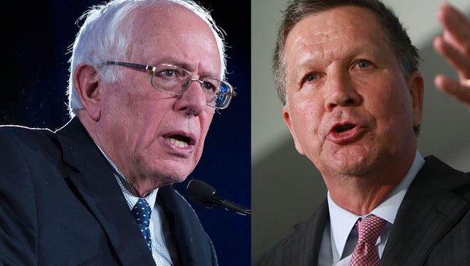 Sen. Bernie Sanders, left, and Ohio Governor John Kasich will make presidential campaign stops in Michigan on Monday.
