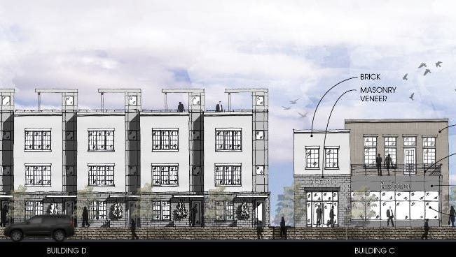 An elevation showing the townhome development planned at the northwest corner of Cleveland and Meridian streets.