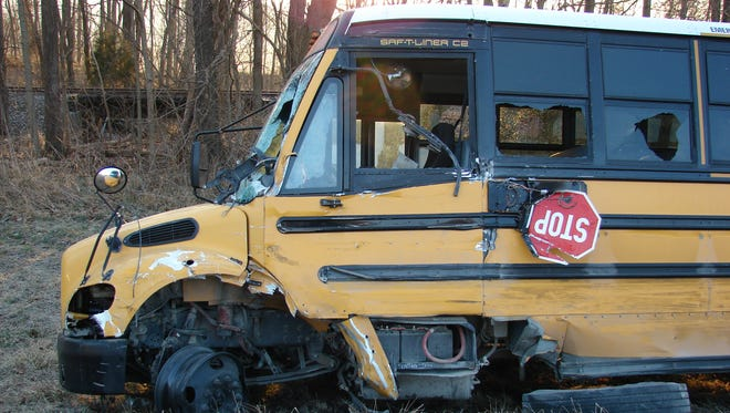 Twelve students were sent to the hospital after a semi truck collided with a school bus on Feb. 6, 2017.